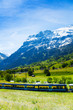 Train crossing Alps countryside
