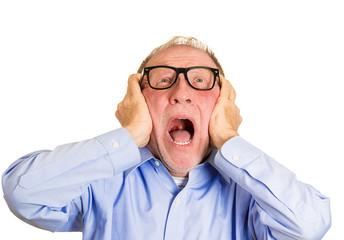 Loud noises stressed elderly man screaming overwhelmed