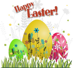 Happy easter eggs with grass, vector illustration
