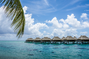 Luxury overwater bungalows with view of Pacific Ocean