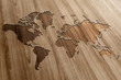 World Map on Wooden Background - 63641113