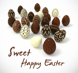 Chocolate Easter eggs on white background
