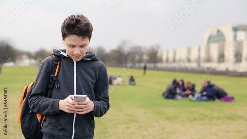 Young teenage boy texting on smartphone in the park