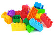 Leinwandbild Motiv Toy colorful plastic blocks isolated on white