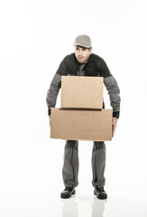 worker carrying too heavy boxes on isolated background