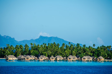 Luxury overwater bungalows with view of South Pacific Ocean