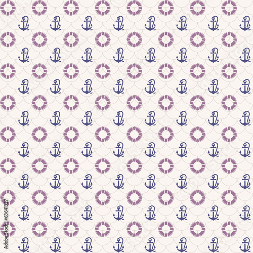 Seamless patterns, anchors and lifebuoy