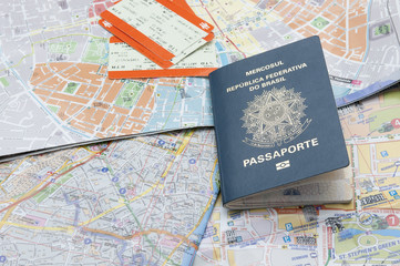Passport, maps, and tickets