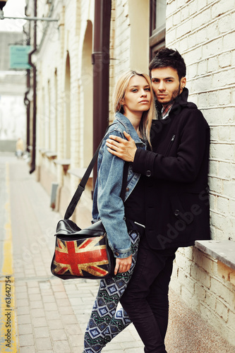 Portrait of stylish beautiful young couple