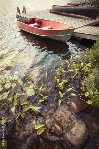 Boat at dock on small lake