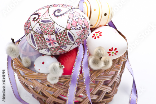 easter basket with ribbon