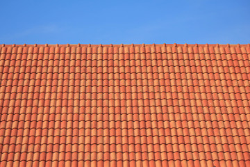 dark brown roof against blue sky