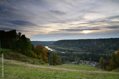 Shining sunset in Sigulda. Autumn scene