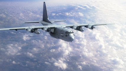Ac 130 Gunship flying into view from high above the clouds