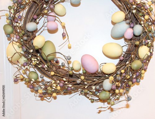 Easter decoration wreath with Easter eggs.