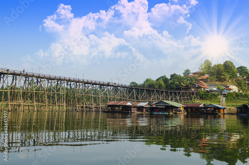 The wooden bridge is the second longest in the world. at Sangkla