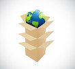 boxes inside boxes and globe. illustration design