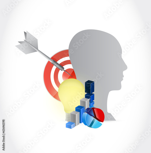 head and business economy illustration design