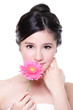 Young woman smile face with flower