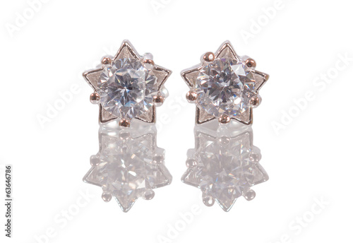 cubic zirconia earrings with shadow isolated on white