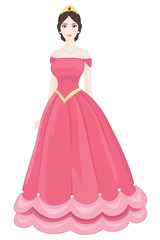 Beautiful Princess with Pink Dress on a white background