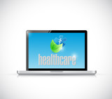 laptop and organic healthcare sign illustration