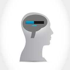 loading brain and head illustration design