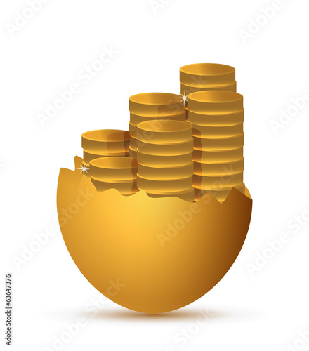broken egg and coins illustration design