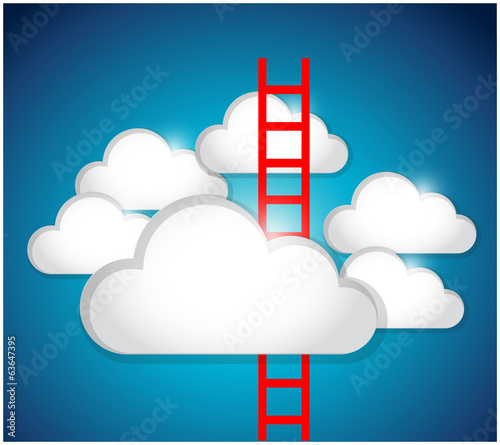 clouds and ladder illustration design
