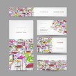 Business cards design with citycsape sketch