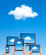 Cloud computing concept. Hand with blue sky and white cloud. Vec
