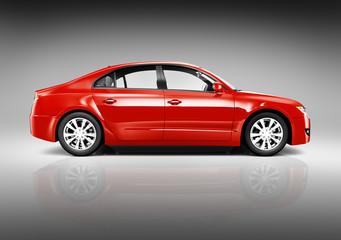 Red Sedan 3D Car