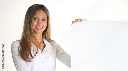 young woman with signboard