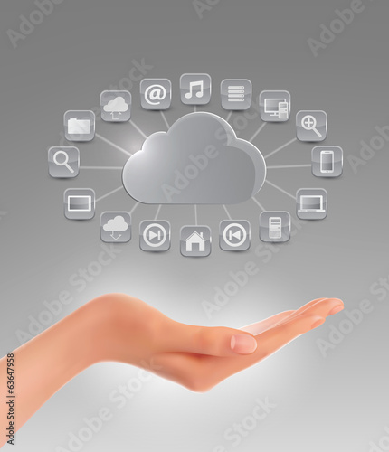 Cloud storage concept background with a hand. Vector illustratio