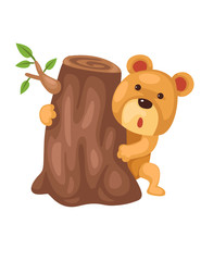 Cute bear hiding behind stump