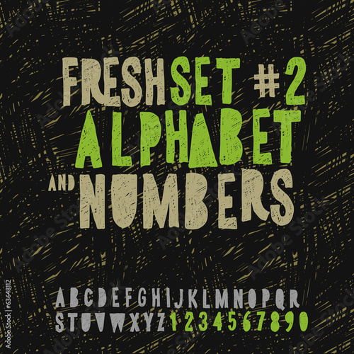 Set of hand drawing alphabet and numbers