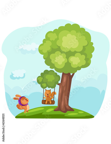 Cute squirrels playing tree swing