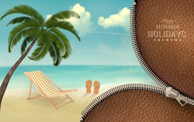 Vacation background with a zipper. Vector