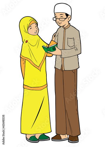 Muslim couple sharing knowledge
