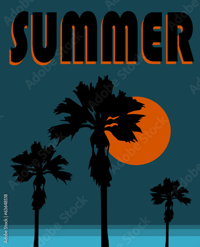 summer and palm trees graphic design