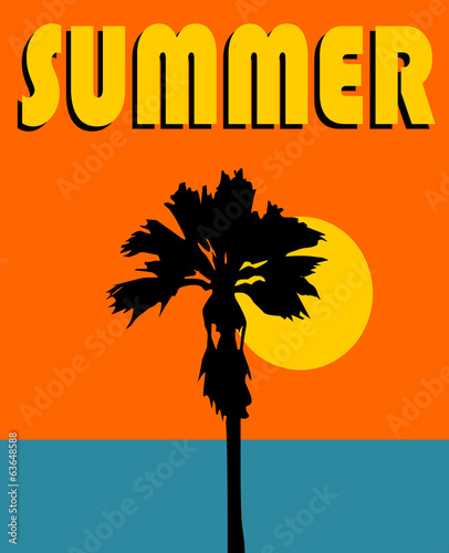 summer graphic design with palm trees and the sun