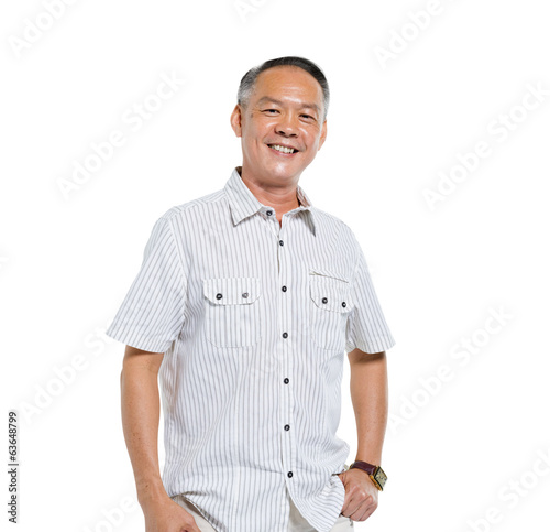 Confident Asian Man Standing and Smiling