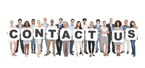 Diverse People Holding Contact Us