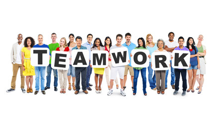 Multi-Ethnic Group Of Diverse People Holding Teamwork