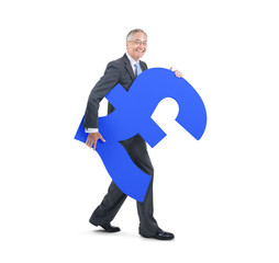 Mature Business Man Holding A Currency Symbol