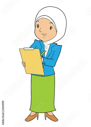 Muslim office lady holding check board