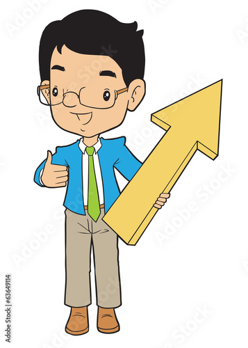 Business man holding big arrow