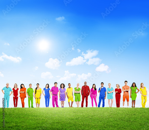 Colorfully Dressed Multi-Ethnic People