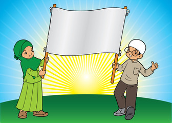 Muslim kids holding a giant banner