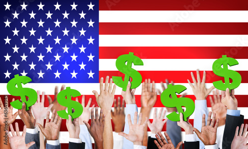 Hands Holding Dollar Signs With Flag Of USA